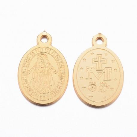 Dijes de Virgen en acero inoxidable 304, color dorado
