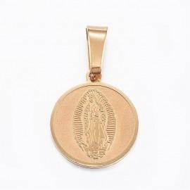 Dije de Virgen en acero inoxidable 304, color Dorado