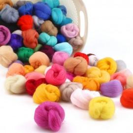 Paquete de 100 colores de lana para moldeado 3D (felting)