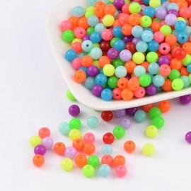 abalorios de perlas acrilicas en colores flourescentes. Tamaño 6mm