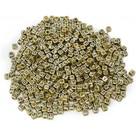 abalorios de Dorados con letras negras. Tamaño 6 mm