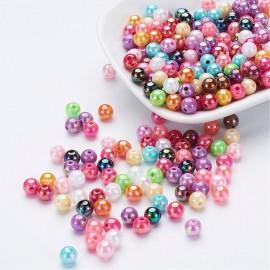 abalorios de perlas acrilicas en colores con acabado perlado. 6mm