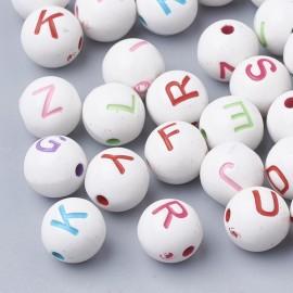 abalorios de perlas blancas con letras de colores. Tamaño 8 mm
