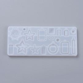 Molde de silicone de 17 aretes, dijes y/o uniones para trabajar con resina