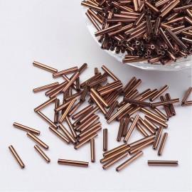 Abalorios de canutillo de vidrio Bronce, tamaño 6x2mm