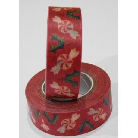 Washi tape navidad rojo con confites
