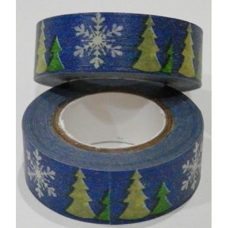 Washi tape azul con arboles de navidad
