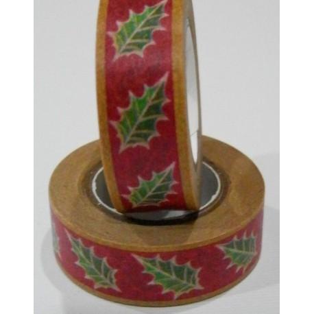 Washi tape navidad rojo con hojas