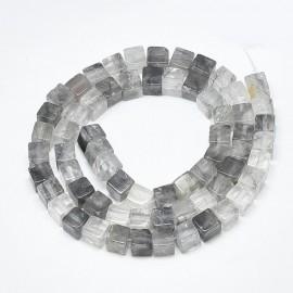 Piedra Natural de Cuarzo Nublado en cubos, en tonos blancos y grises