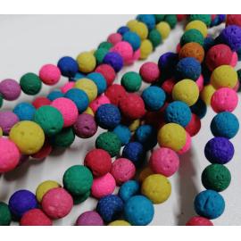 Piedra volcánica natural teñidas colores vivos, tamaño 8mm