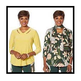 Juego de 2 blusas y pañoleta, Curry Evergreen, Dream in Color.