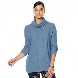 Sweater Tejida, celeste con cuello de tortuga de Nina Leonard.