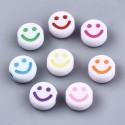 abalorios de caritas blancos con felices en colores variados