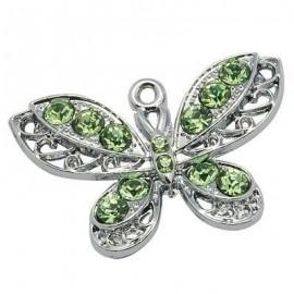 Dije de mariposa con cristales en colores plata y verde