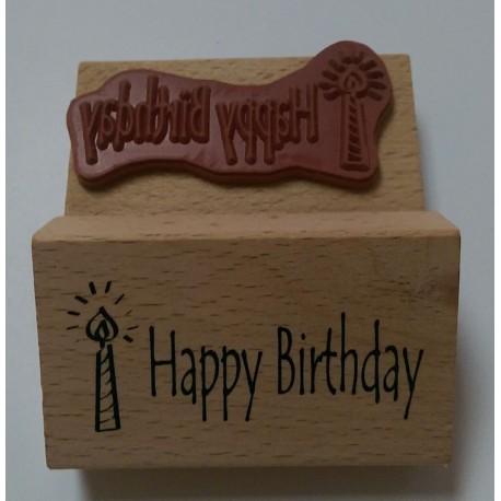 "Sello de Madera ""Happy birthday"""