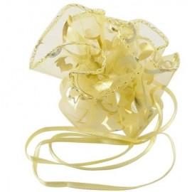 Bolsas de organza amarillas con corazones dorados