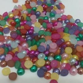 Medias perlas en colores variados, 6 mm