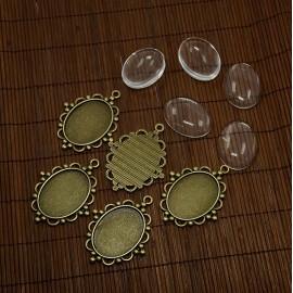 Bases para camafeo en color bronce antiguo