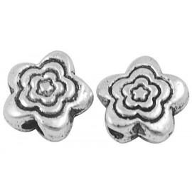 Paquete Separadores en forma de flor color plata antigua