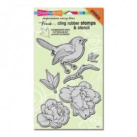 """Sellos, stencil y Troquel """"Bird Blossom"""" de Stampendous"""