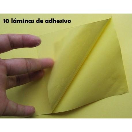 Paquete 10 láminas adhesivo doble capa