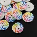 Botones de madera blancos con colores