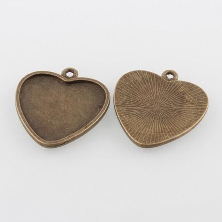 Base para camafeo con forma de corazón