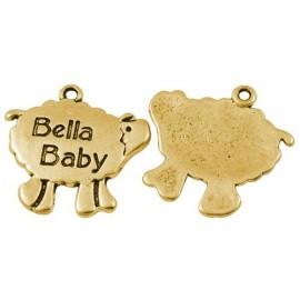 "Paquete dijes de oveja ""Bella Baby"", color dorado"
