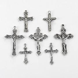 Dijes de Cruces Variadas, color plateado