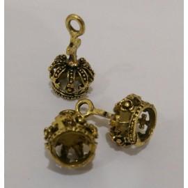 Dijes de corona 3D en metal, color dorado