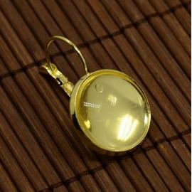 Aretes con cabochon de vidrio, color dorado