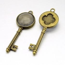 Dije de llave con base y cabochon de vidrio para camafeos