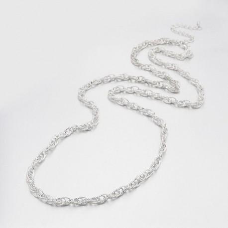 Collar de cadena de doble enlace color plateado