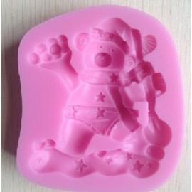 Molde de silicone con figura de oso con bolas de nieve