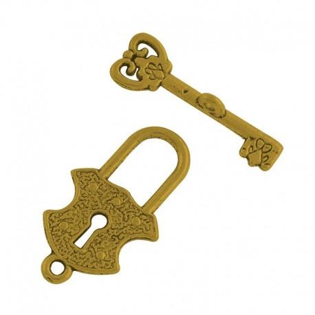 Cierre marino de candado con llave en color oro