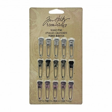 Trinket Pins Stamped with Words and Numbers Tim Holtz Idea-ology