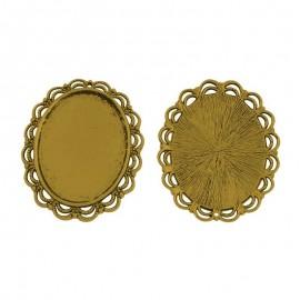 Bases para camafeo y cabochon de vidrioen color oro antiguo