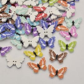 Botones de madera de mariposas de colores