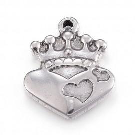 Dijes de Corazón con corona en acero inoxidable 304