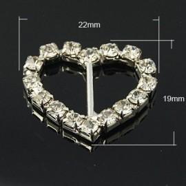 Pasacintas de corazón con cristales Grado A