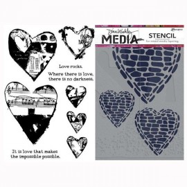 """Sellos acrilicos y stencil """"Love Rocks"""" de Dina Wakley, Ranger"""