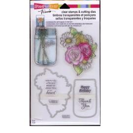 """Sello y troquel metálico """"Flowers"""" de Stampendous"""