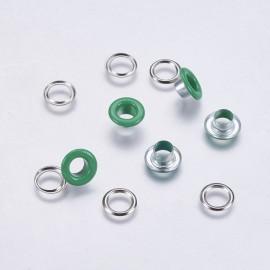 Ojetes y arandelas en color Verde