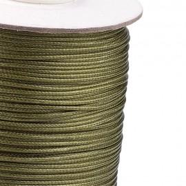 Rollo de Cordon de Poliester Encerado Color Verde Oliva, 1mm
