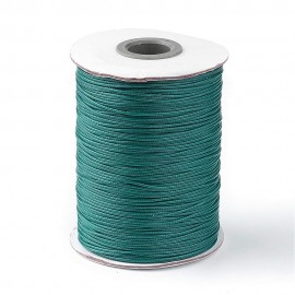 Rollo de Cordon de Poliester Encerado Color Teal, 1mm