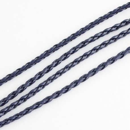 Rollo de Cordon Trenzado imitación cuero Color MarineBlue