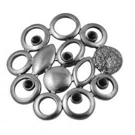 Paquete de 10 Uniones color plata negra estilo tibetano