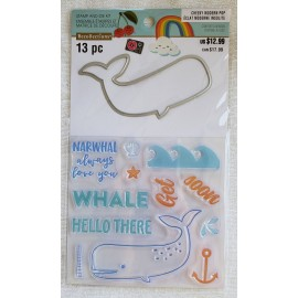 """Juego de troquel y sellos """"whale"""" de Recollections"""