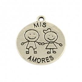 Paquete de 20 Dijes de Mis amores , color Plata Antigua