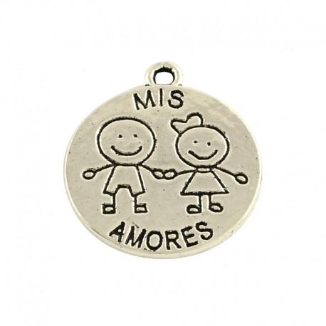 Dijes de Mis amores , color Plata Antigua